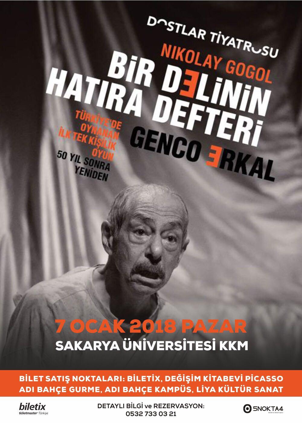 Genco Erkal'dan '' Bir delinin hatıra defteri'' 7 ocak pazar günü Sakarya'da!