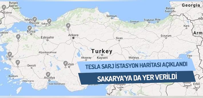 TESLA Otomobil Şarj İstasyon Haritası